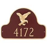 Montague Metal Products Eagle Arch Address Plaque; Brick Red / Silver