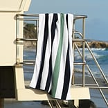 Laguna Beach Towel Company Plush Cabana Beach Towel; Midnight Blue / Sea Foam