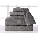 Affinity Linens Supersoft Plush 6 Piece Towel Set; Platinum