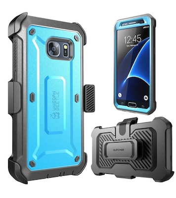 SUPCASE Unicorn Beetle Series Pro Full body Case with built-in Screen Protector & Holster for Samsung Galaxy S7, Blue