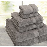 Cathay Home, Inc Luxe Pure Quality Cotton 6 Piece Towel Set; Grey