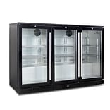 Kingsbottle KBU 328-BP Black, 383 Can Commercial Grade, Undercounter Beverage Fridge, 3 Self-Closing