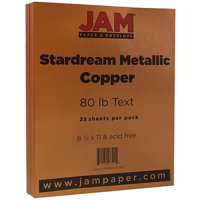 JAM Paper® Metallic 32lb Paper, 8.5 x 11, Copper Stardream Metallic, 25 Sheets/Pack (173SD8511CO120B)