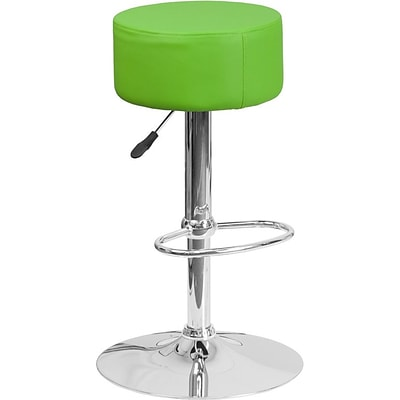 Flash Furniture Green Vinyl Adjustable Height Barstool with Chrome Base, Set of 2 (2-CH-82056-GRN-GG)