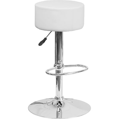 Flash Furniture White Vinyl Adjustable Height Barstool with Chrome Base, Set of 2 (2-CH-82056-WH-GG)