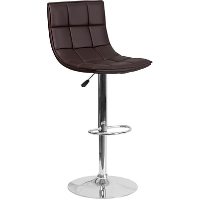 Flash Furniture Brown Quilted Vinyl Adjustable Height Barstool with Chrome Base, Set of 2 (2-CH-92026-1-BRN-GG)