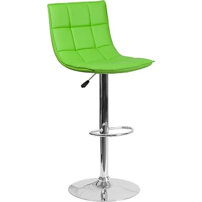 Flash Furniture Green Quilted Vinyl Adjustable Height Barstool with Chrome Base, Set of 2 (2-CH-92026-1-GRN-GG)