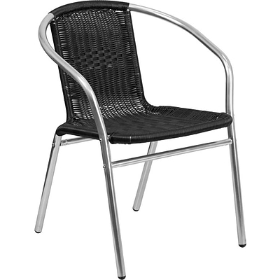 Flash Furniture Black Rattan Commercial Indoor-Outdoor Restaurant Stack Chair, Pack of 4 (4-TLH-020-BK-GG)
