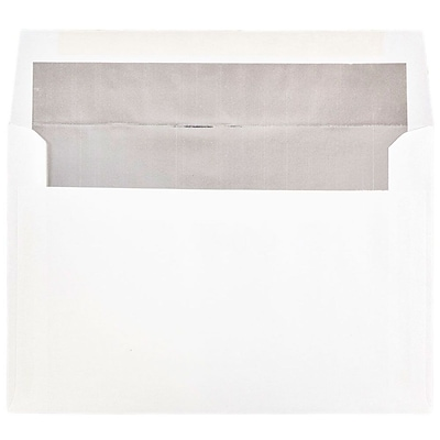 JAM Paper® A9 Foil Lined Envelopes, 5.75 x 8.75, White with Silver Lining, 250/box (34078H)
