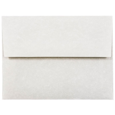 JAM Paper® A2 Invitation Envelopes, 4 3/8 x 5 3/4, Parchment Pewter Grey Recycled, 50/pack (34876I)