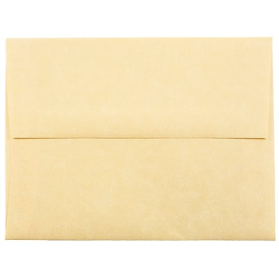 JAM Paper® A2 Invitation Envelopes, 4 3/8 x 5 3/4, Parchment Antique Gold Yellow Recycled, 250/box (55574H)