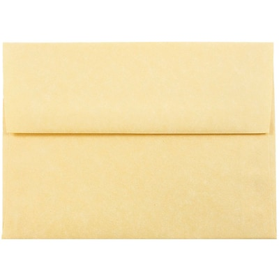 JAM Paper® A6 Invitation Envelopes, 4.75 x 6.5, Parchment Antique Gold Yellow Recycled, 250/box (56721H)