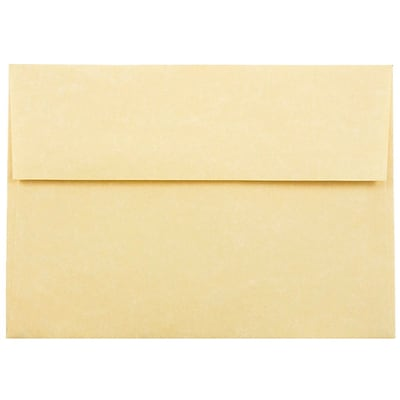 JAM Paper® A7 Invitation Envelopes, 5.25 x 7.25, Parchment Antique Gold Yellow Recycled, 250/box (78758H)