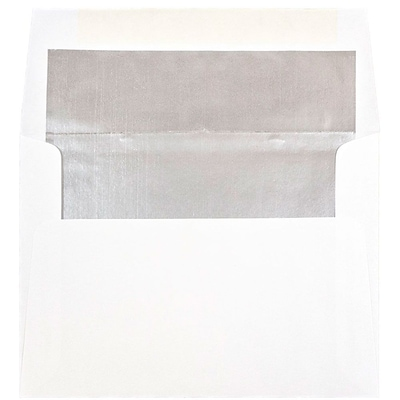 JAM Paper® A6 Invitation Envelopes, 4.75 x 6.5, White with Silver Lining, 25/pack (82927)