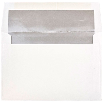 JAM Paper® A8 Foil Lined Envelopes, 5.5 x 8.125, White with Silver Lining, 250/box (83123H)