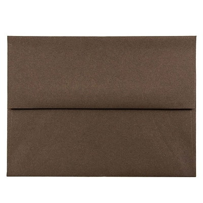 JAM Paper® A2 Invitation Envelopes, 4 3/8 x 5 3/4, Chocolate Brown Recycled, 50/pack (233709I)