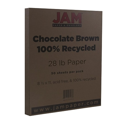JAM Paper® Recycled Paper - 8.5 x 11 - 28 lb. Chocolate Brown - 50/pack