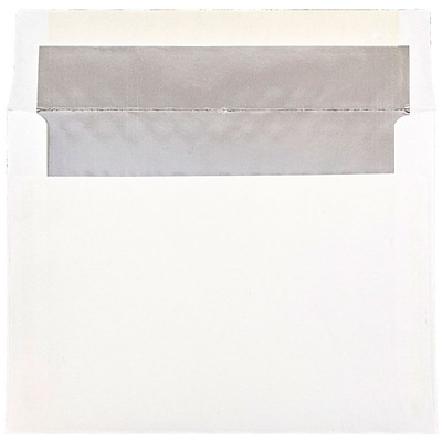 JAM Paper® A7 Foil Lined Envelopes, 5.25 x 7.25, White with Silver Lining, 25/pack (3243671)