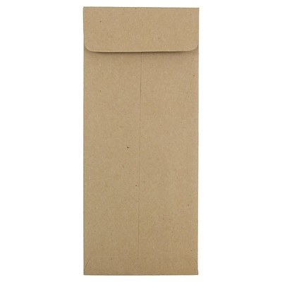 JAM Paper® #10 Policy Envelopes, 4 1/8 x 9 1/2, Brown Kraft Paper Bag Recycled, 50/pack (3965615I)