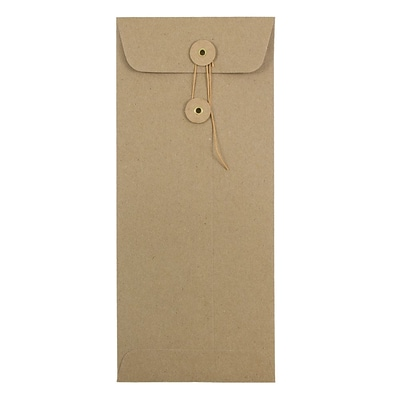 JAM Paper® #10 Policy Envelopes with Button and String Tie Closure, 4 1/8 x 9 1/2, Brown Kraft Paper Bag, 500/box (41266941H)