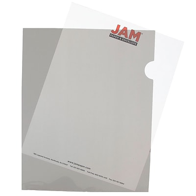 JAM Paper® Plastic Sleeves, 9 x 11.5, Smoke Grey, 12/Pack (2226316990)
