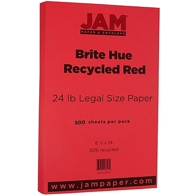 JAM Paper® Recycled Legal Paper - 8.5 x 14 - 24 lb. Brite Hue Red - 500/box