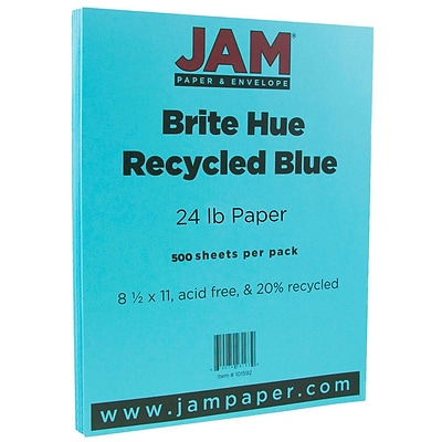 JAM Paper® Bright Color Paper - 8.5 x 11 - 24lb Brite Hue Blue Recycled - Ream of 500