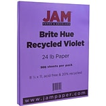 JAM Paper® Bright Color Paper - 8.5 x 11 - 24lb Brite Hue Violet Recycled - 500/box