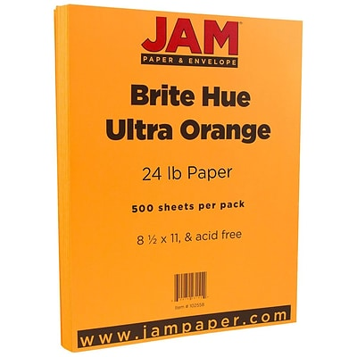 JAM Paper® Colored 24lb Paper, 8.5 x 11, Ultra Orange, 500 Sheets/Ream (102558B)