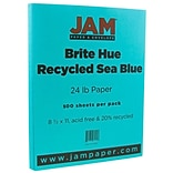JAM Paper® Bright Color Paper - 8.5 x 11 - 24lb Brite Hue Sea Blue Recycled - 500/box