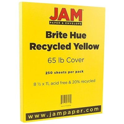 JAM Paper® Bright Color Cardstock, 8.5 x 11, 65lb Yellow Recycled, 250/ream (104018B)