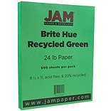 JAM Paper® Bright Color Paper - 8.5 x 11 - 24lb Brite Hue Green Recycled - Ream of 500