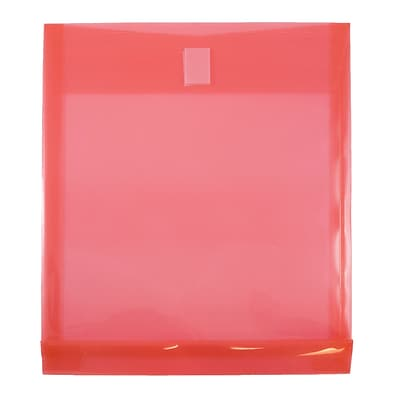 JAM Paper® Plastic Envelopes with Hook & Loop Closure, 1 Expansion, Letter Open End, 9.75 x 11.5, Red Poly 12/pack (118V1RE)