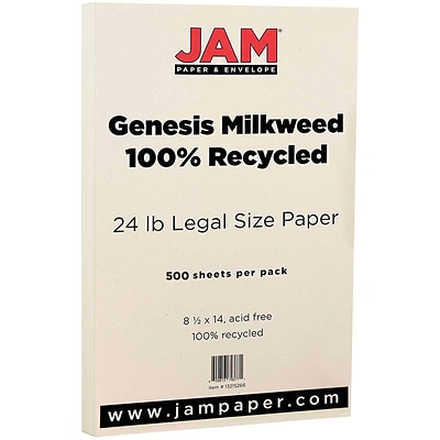 JAM Paper® Recycled Legal 28lb Paper, 8.5 x 14, Genesis Husk, 500 Sheets/Ream (13215266B)