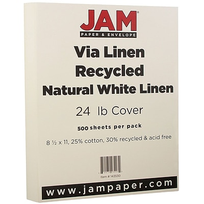 JAM Paper® Strathmore Paper - 8.5 x 11 - 24 lb. Strathmore Natural White Linen Recycled - 500/box