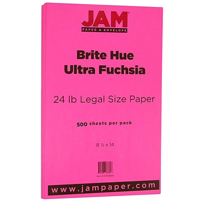JAM Paper® Recycled Legal Paper - 8.5 x 14 - 24 lb. Brite Hue Ultra Fuchsia Pink - 500/box