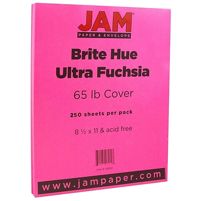 JAM Paper® Colored 65lb Cardstock, 8.5 x 11 Coverstock, Ultra Fuchsia Pink, 250 Sheets/Ream (184851B)