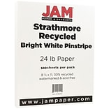 JAM Paper® Strathmore Paper - 8.5 x 11 - 24 lb. Bright White Pinstripe Recycled - 500/box
