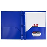 JAM Paper® Plastic Eco Two Pocket Clasp School Folders with Prong Clip Fasteners, Deep Blue, 96/pack