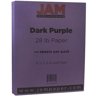 JAM Paper® Matte Paper - 8.5 x 11 - 28 lb. Dark Purple - 500/box