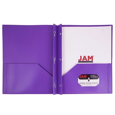 JAM Paper® Plastic Eco Two Pocket Clasp School Folders with Prong Clip Fasteners, Purple, 96/pack (382ECPUD)