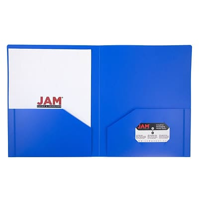 JAM Paper® Plastic Heavy Duty Two Pocket Folders, Blue, 108/pack (383HBUB)