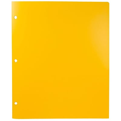 JAM Paper® Plastic Heavy Duty 3 Hole Punched 2 Pocket School Folders, Yellow, 6/pack (383HHPYEB)