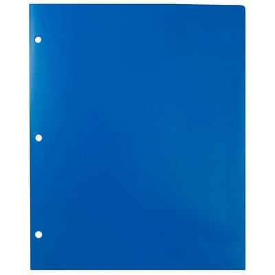 JAM Paper® Plastic Heavy Duty 3 Hole Punched 2 Pocket School Folders, Blue, 6/pack (383HPBBUB)