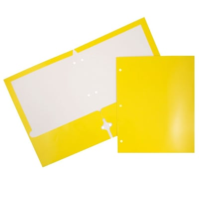 JAM Paper® Glossy 2 Pocket 3 Hole Punched Folders, Yellow, 50/box (385GHPYEC)