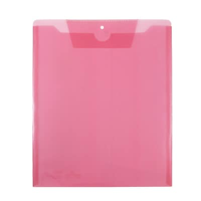 JAM Paper® Plastic Job Envelopes with Tuck Flap Closure, Letter Open End, 9.5 x 11.5, Pink, 12/Pack (86730PI)