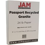 JAM Paper® Recycled Paper - 8.5 x 11 - 24 lb. Granite Passport - 500/box