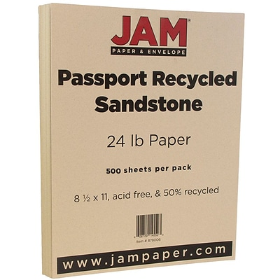 JAM Paper® Recycled Paper - 8.5 x 11 - 24 lb. Sandstone Passport - 500/box