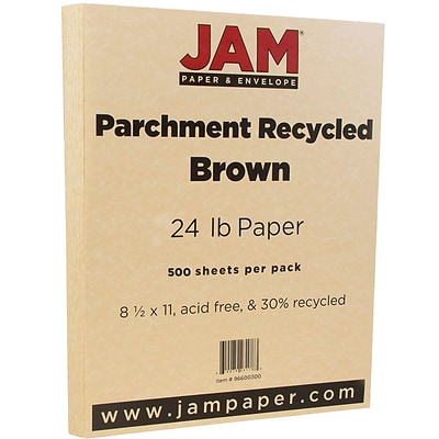 JAM Paper® Parchment Paper, 8.5 x 11, 24lb Brown Recycled, 500/box (96600300B)