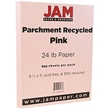 JAM Paper® Parchment Paper - 8.5 x 11 - 24lb Pink Ice Recycled - Ream of 500
